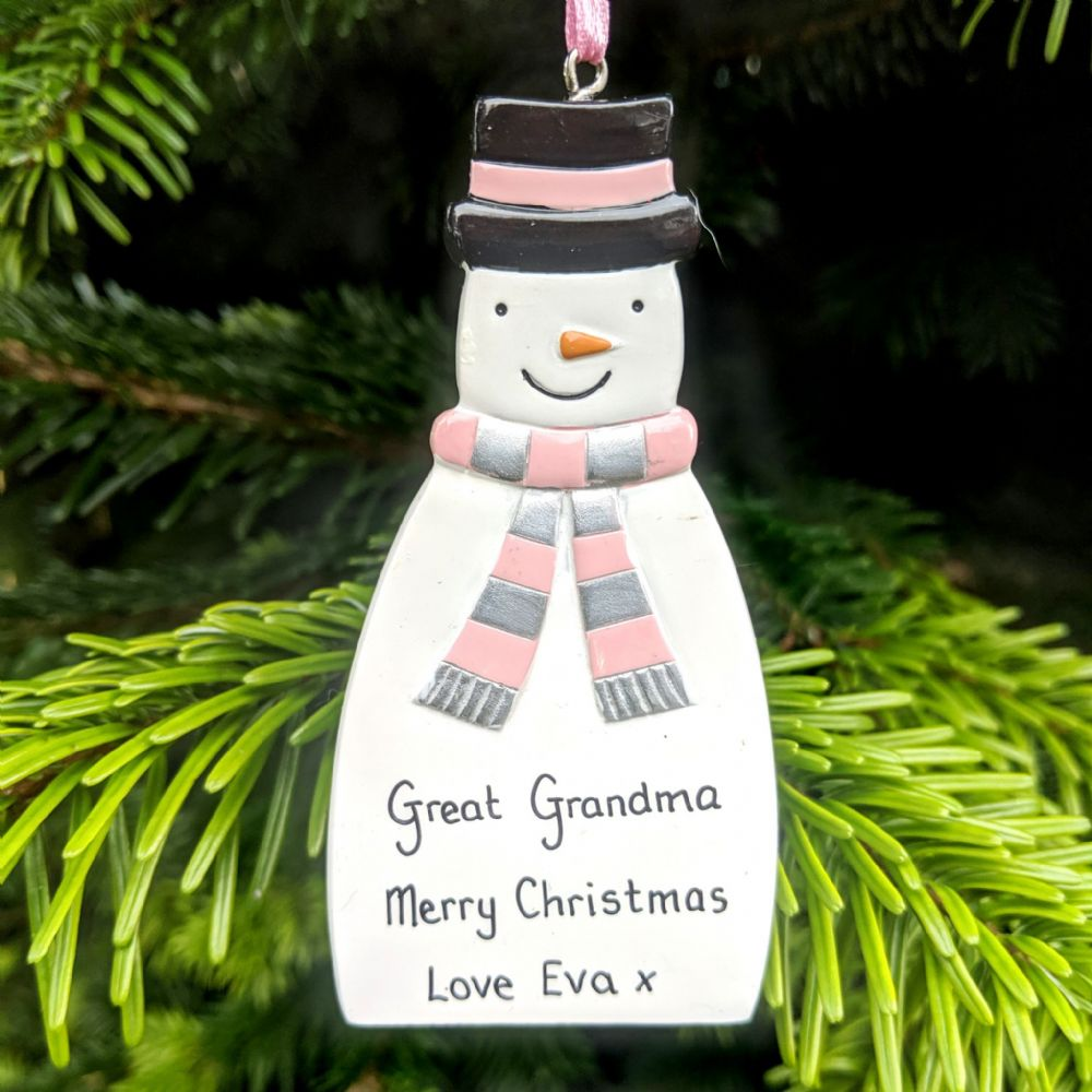 Personalised Snowman with Pink & Silver Scarf Christmas Tree Decoration